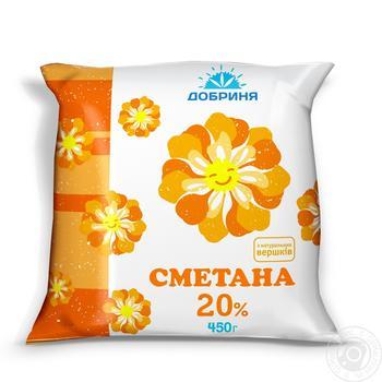 Sour cream Dobrynya 20% 450g sachet Ukraine