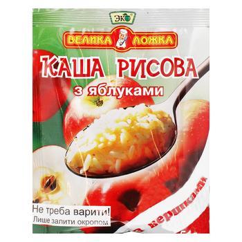 Каша Эко Большая ложка рисовая с яблоками со сливками 51г - купить, цены на Ашан - фото 1