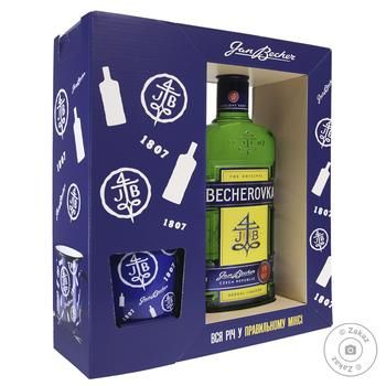 Настоянка лікерна Becherovka Jan Becher 38% 0,7л + 1 келих - купити, ціни на МегаМаркет - фото 1