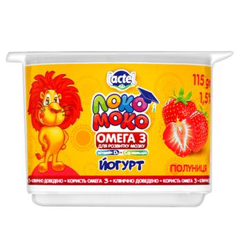 Йогурт Lactel Локо Моко клубника, обогащенный кальцием, омега 3 и витамином D3 1,5% 115г