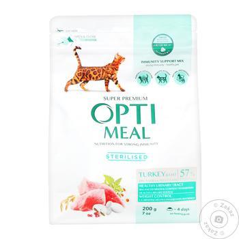 Корм Optimeal сухой индейка и овес для стерилизованных кошек и кастрированных котов 200г