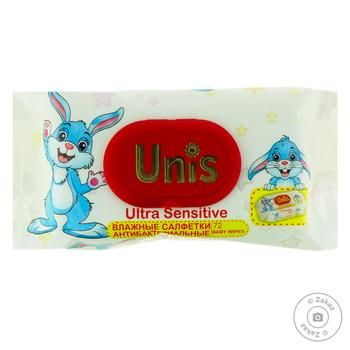 Unis Wet Wipes for Children with Valve 72pcs - buy, prices for Furshet - image 1