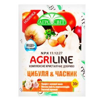 Добриво Агросвіт Agriline Цибуля та часник 30г - купити, ціни на Ашан - фото 1
