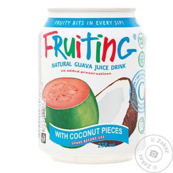 Напиток Фрутинг с соком гуавы и кусочками кокоса 238мл - купить, цены на Novus - фото 1