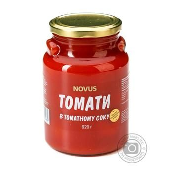 Томати неочищені в томатному соку консервовані стерилізовані Novus 850г - купить, цены на Novus - фото 1