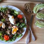 Салат из гусиной печени со спаржей
