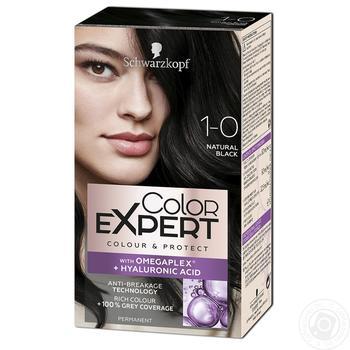 Крем-краска для волос Color Expert 1-0 Глубокий Черный с гиалуроновой кислотой 142,5мл - купить, цены на Фуршет - фото 1