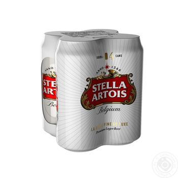 Пиво Stella Artois светлое 4*0,5л  ж/б