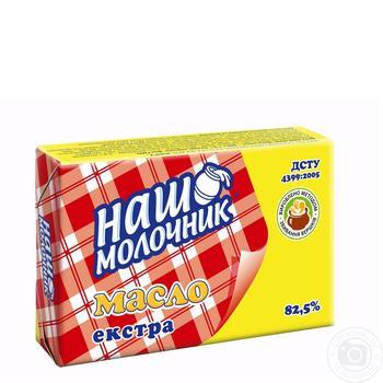 Масло Наш Молочник Экстра сладкосливочное 82% 200г - купить, цены на Метро - фото 1