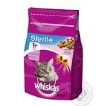 Корм повнораціонний сухий для дорослих стерилізованих кішок та кастрованих котів. З лососем. Whiskas® 350г