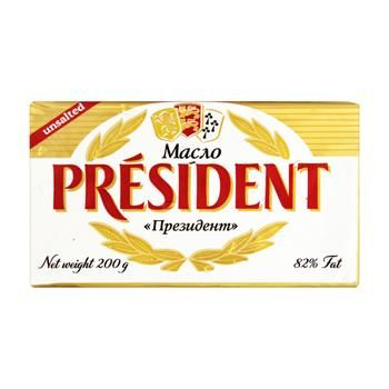 Масло President кислосливочное несоленое 82% 200г