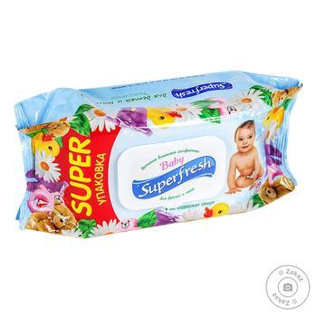 Салфетки влажные Superfresh для детей и мам 120шт - купить, цены на МегаМаркет - фото 1