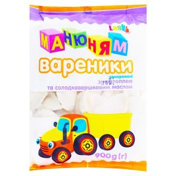 Вареники Ласка Ма-ню-ням з картоплею та солодковершковим маслом 900г - купити, ціни на Фуршет - фото 1