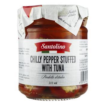 Перець чилі Santolino фарширований тунцем в олії консервований пастеризований 180г
