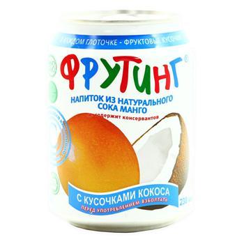 Напиток Фрутинг с соком манго и кусочками кокоса 238мл - купить, цены на СитиМаркет - фото 1