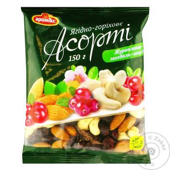 Асорті Аромікс журавлина-мигдаль-кеш'ю 150г - купити, ціни на Ашан - фото 1