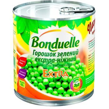 Горошек зеленый Bonduelle экстра-нежный 425мл - купить, цены на Ашан - фото 1