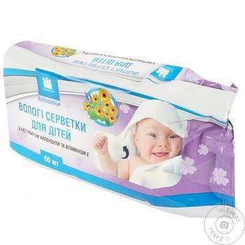 Салфетки влажные Eurogroup детские с календулой и витамином Е 60шт - купить, цены на Таврия В - фото 1