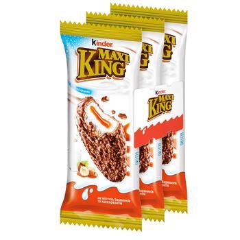Бісквіт Kinder Maxi King з молочно-карамельною начинкою в молочному шоколаді з лісовими горіхами 3шт 35г