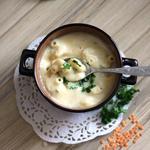 Суп-пюре из чечевицы со сливками и макаронами