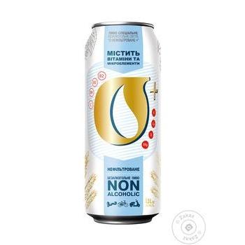 Пиво Оболонь безалкогольне нефільтроване пастеризоване з/б 0,5% 0,5л - купити, ціни на Novus - фото 1