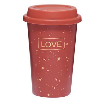 Склянка Love Кактус 110524 400мл з силіконовою кришкою коричневий