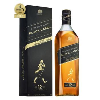 Виски Johnnie Walker Black label 12 років 40% 0.7л - купить, цены на Ашан - фото 1