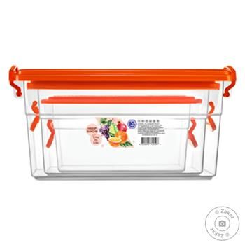 Набор контейнеров Эталон-С прямоугольных 3шт 2л+0,95л+0,55л - купить, цены на Фуршет - фото 1