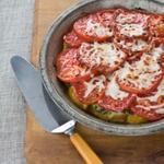 Свинина запеченная под шубой из перцев и помидоров