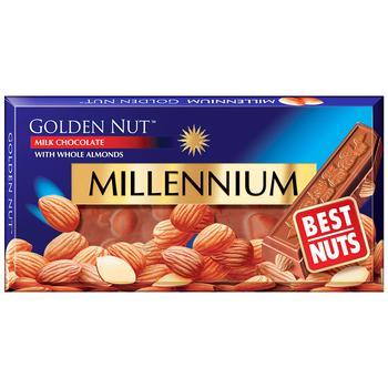 Шоколад Millennium Golden Nut молочний з цільним мигдалем 90г