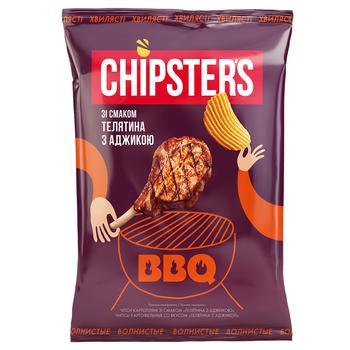 Чипсы Flint Chipster's картофельные волнистые со вкусом телятины с аджикой 120г - купить, цены на СитиМаркет - фото 1