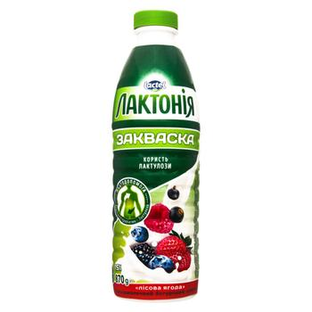 Напій кисломолочний Лактонія  йогуртний закваска лісова ягода з лактулозою 1.5% 870г - купити, ціни на CітіМаркет - фото 1
