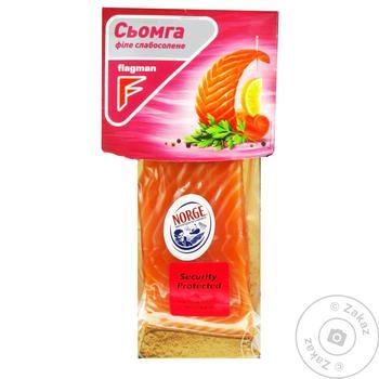 Семга Flagman филе кусок на шкуре слабосоленая 180г - купить, цены на Ашан - фото 2