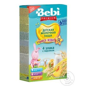 Bebi Premium 4 Cereals With Cream And Peach For Babies From 12 Months Milky Porridge 200g - buy, prices for Furshet - image 2