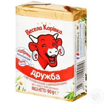 Сыр Веселая Коровка Дружба плавленный 50% 90г - купить, цены на Ашан - фото 1