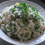 Рибний салат з рисом і сиром