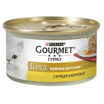 Корм Gourmet Gold Нежные биточки С курицей и морковью для взрослых кошек 85г - купить, цены на Метро - фото 1