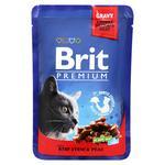 Влажный корм для кошек Brit Premium Cat Beef Stew & Peas pouch тушеная говядина и горох 100г
