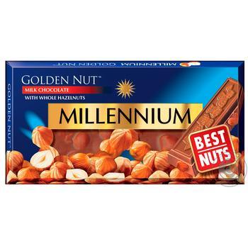 Шоколад молочный Millennium Golden Nut с цельными лесными орехами 100г - купить, цены на Novus - фото 1