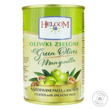 Оливки Helcom зелені фаршировані з анчоусом 0,3л - купити, ціни на Фуршет - фото 1