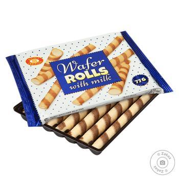 Трубочки вафельные Бисквит-Шоколад с молоком 77г - купить, цены на Фуршет - фото 1
