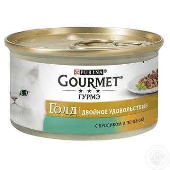 Корм GOURMET Gold Duo С кроликом и печенью для взрослых кошек 85г - купить, цены на Метро - фото 1