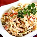 Салат из курицы с шампиньонами и болгарским перцем