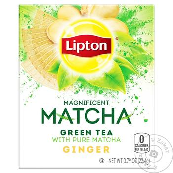 Зеленый чай Lipton Matcha с имбирем в пакетиках 18шт