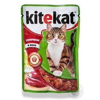 Корм для взрослых котов Kitekat с говядиной в желе 100г - купить, цены на Ашан - фото 4