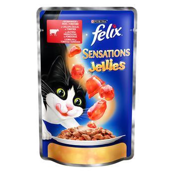 Корм Felix Sensations Jellies З яловичиною в желе з томатами для дорослих котів 100г