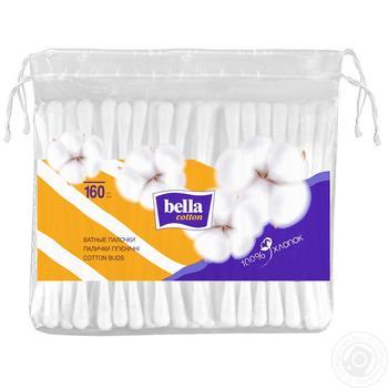 Палички ватні Bella Сotton бавовняні гігієнічні 160шт - купити, ціни на Novus - фото 1
