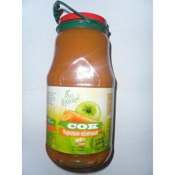 Сок Пан Томатов морковно-яблочный с мякотью без сахара со стевией стеклянная банка 1850мл Украина