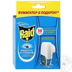 Электрофумигатор Raid от комаров с жидкостью 30 ночей 50мл