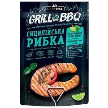 Grill&BBQ Pripravka Приправа к рыбе и морепродуктам Сицилийская рыбка с натуральным соком лайма листьями кафир-лайма и чили 30г - купить, цены на ЕКО Маркет - фото 1